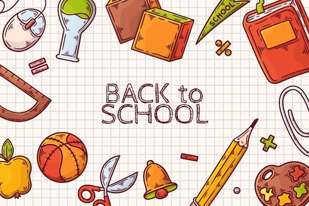 Torna a scuola sfondo disegnato a mano Vettore gratuito