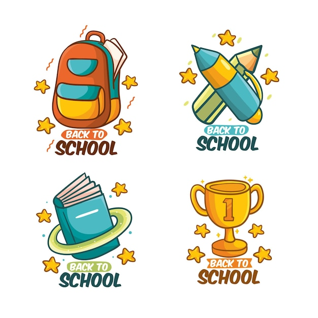 Hand drawn back to school badges Free Vector