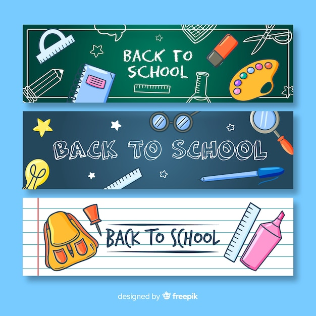 Hand drawn back to school banner Free Vector