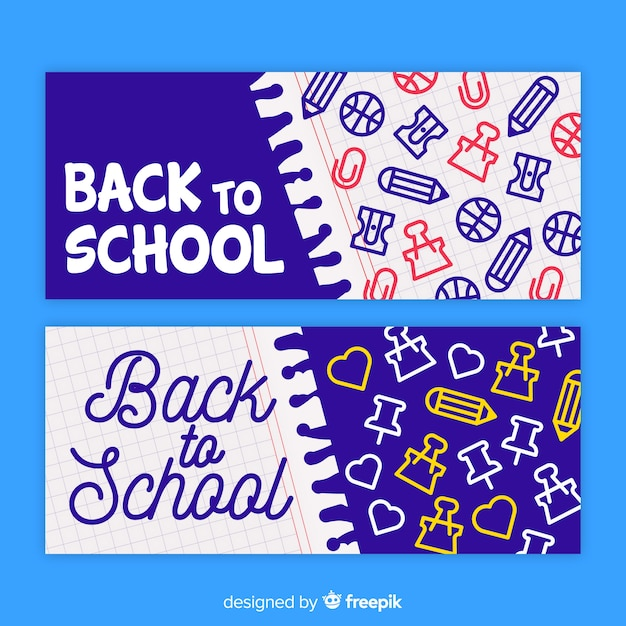 Hand drawn back to school banners Free Vector