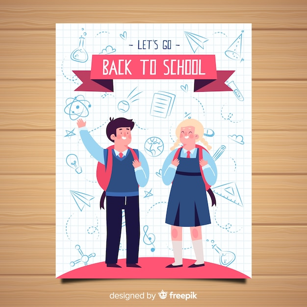Hand drawn back to school card template Premium Vector