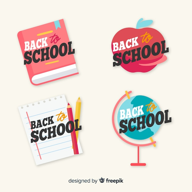 Hand drawn back to school label collection Free Vector