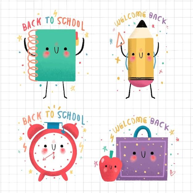 Torna al set di etichette scolastiche disegnate a mano Vettore gratuito