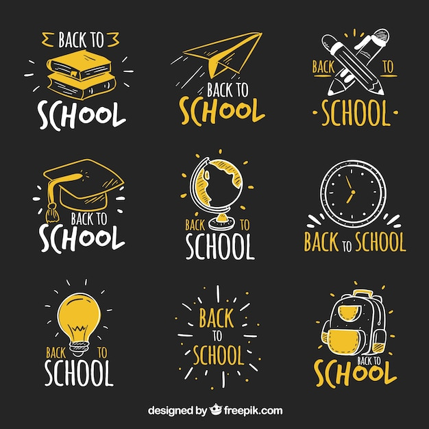 Hand drawn back to school labels in blackboard style Free Vector