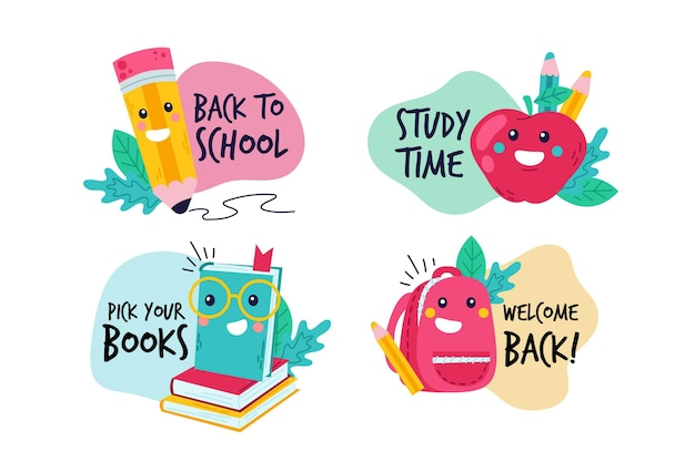 Hand drawn back to school labels collection Free Vector