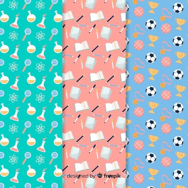 Hand drawn back to school pattern collection Free Vector