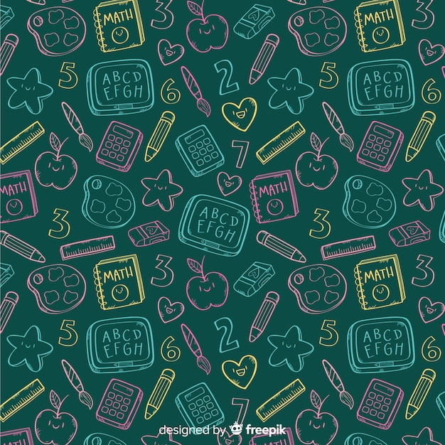 Hand drawn back to school pattern Free Vector