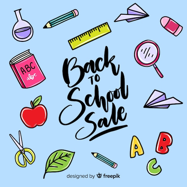 Hand drawn back to school sales background Free Vector