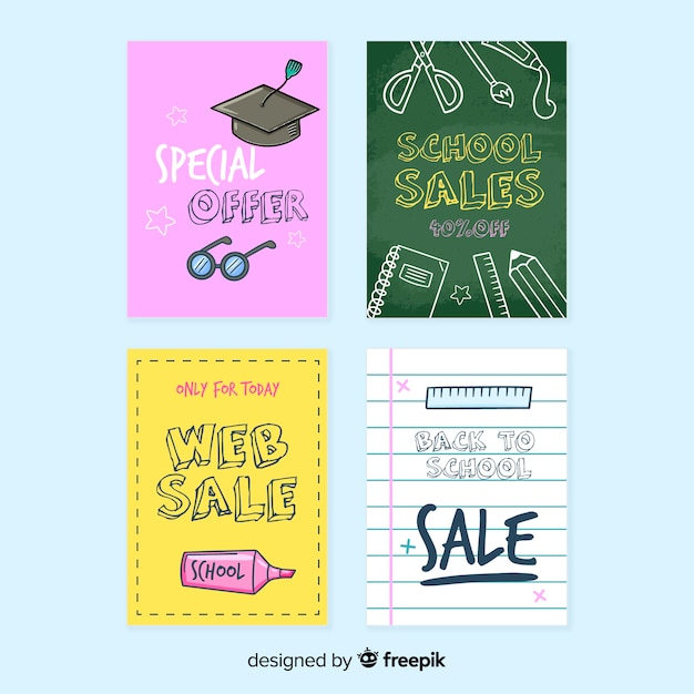 Hand drawn back to school sales flyer Free Vector