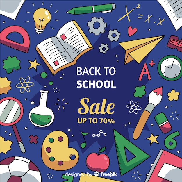 Hand drawn back to school sales Free Vector