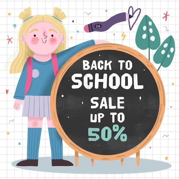 Ritorno alle vendite scolastiche Vettore gratuito