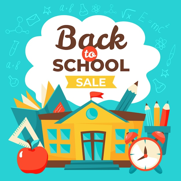 Hand drawn back to school squared sales banner Free Vector