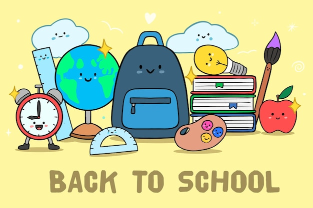 Hand drawn back to school supplies Free Vector