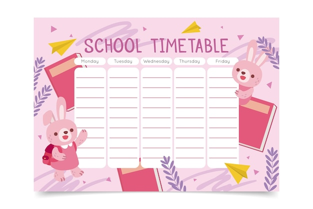 Hand drawn back to school timetable with bunnies Free Vector