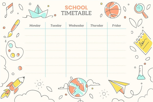 Hand drawn back to school timetable Premium Vector
