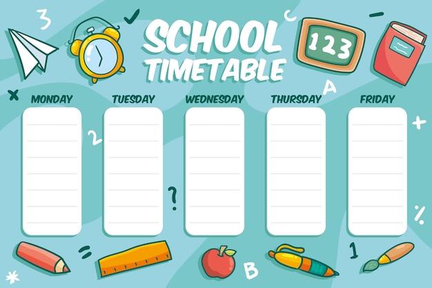Disegnati a mano all'orario scolastico Vettore gratuito