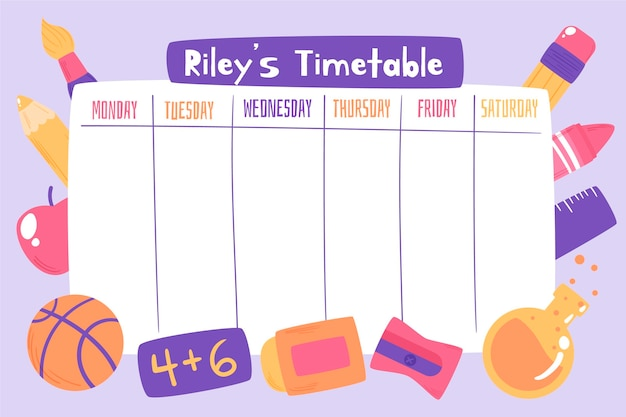 Hand drawn back to school timetable Free Vector