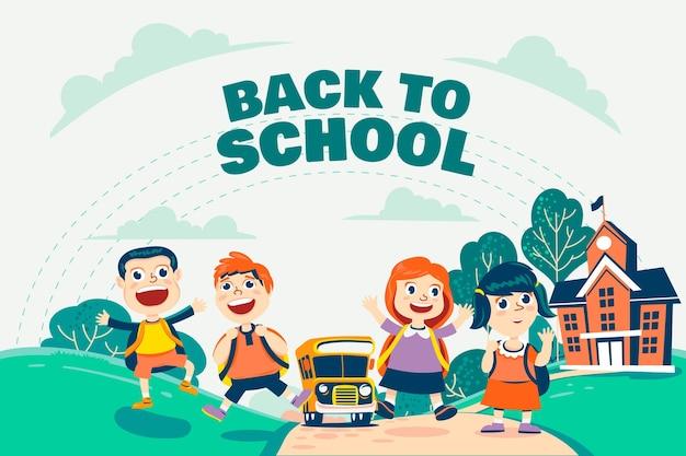 子供たちと学校の背景に引き戻される手 Premiumベクター