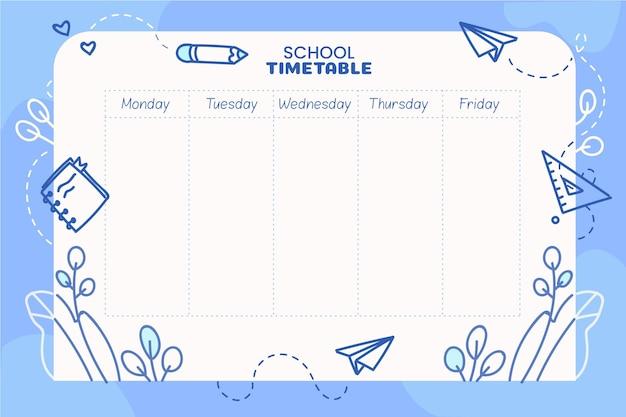 Рисованной обратно в школьное расписание Бесплатные векторы