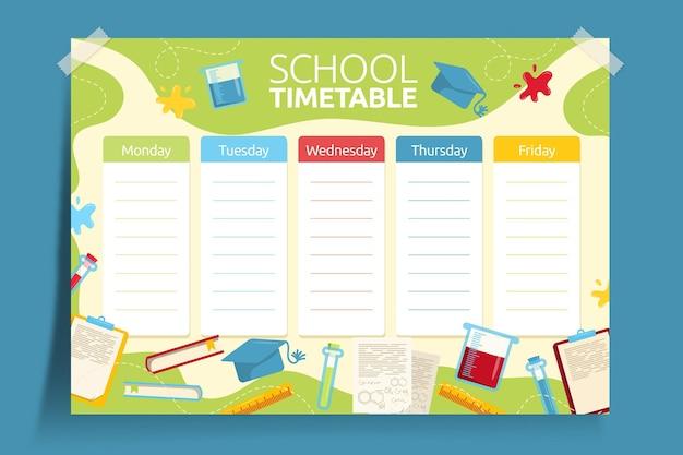 Рисованной обратно в школьное расписание Premium векторы