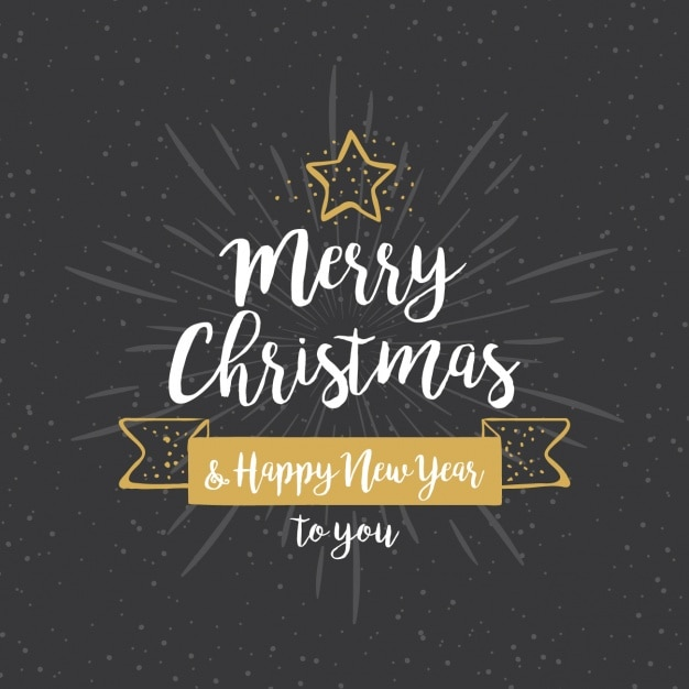 Hand-drawn background for christmas with golden details Free Vector