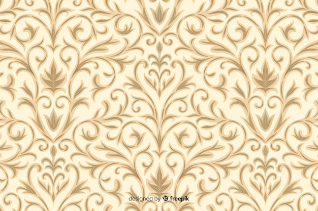 Hand drawn background in damask style Free Vector