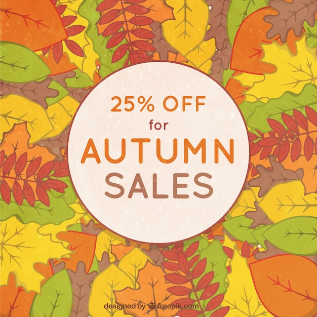 Hand drawn background for autumnal sale