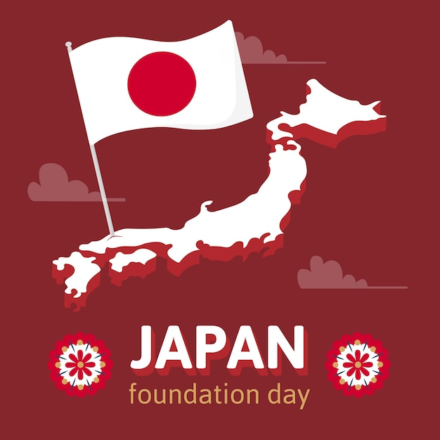 Hand drawn background foundation day (japan) Free Vector