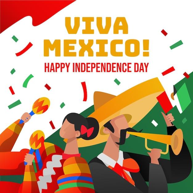 Ручной обращается фон независимости мексики Бесплатные векторы