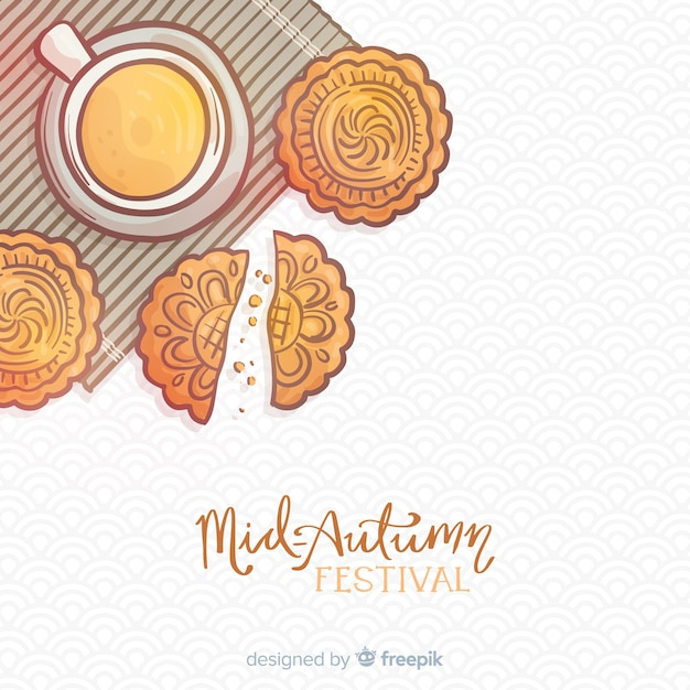 Hand drawn background for mid autumn festival Free Vector