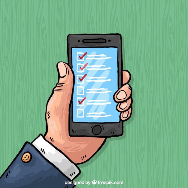 Hand-drawn background of mobile phone with checklist Free Vector