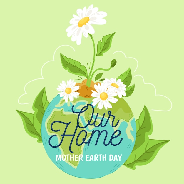 Hand drawn backgroundmother earth day Free Vector