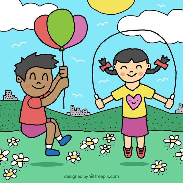 Hand-drawn background of children playing outdoors Vector ...