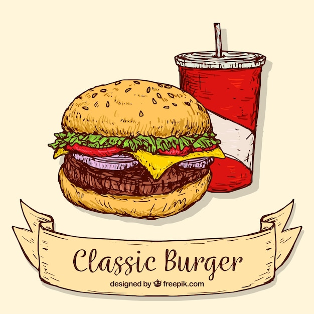 Hand-drawn background of classic burger with drink