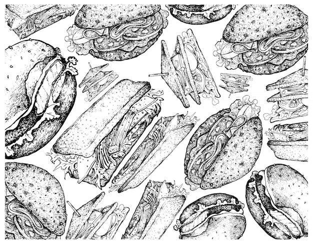Ручной обращается фон гамбургеры и бутерброды Premium векторы