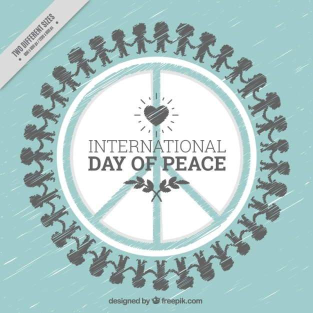 Hand Drawn Background Of International Day Of Peace With Symbol