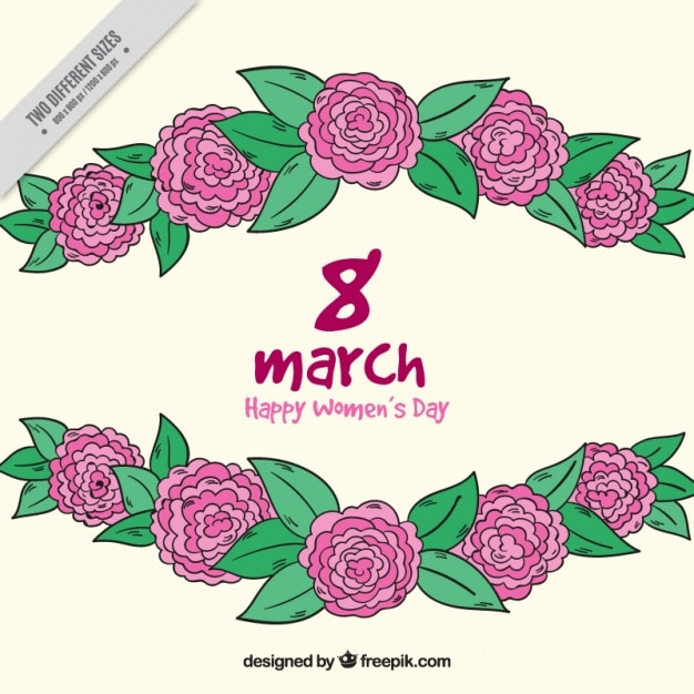Hand-drawn background of purple flowers for\ women\'s day