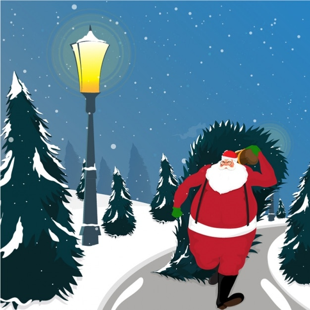 Hand-drawn background of santa claus dragging a tree Premium Vector