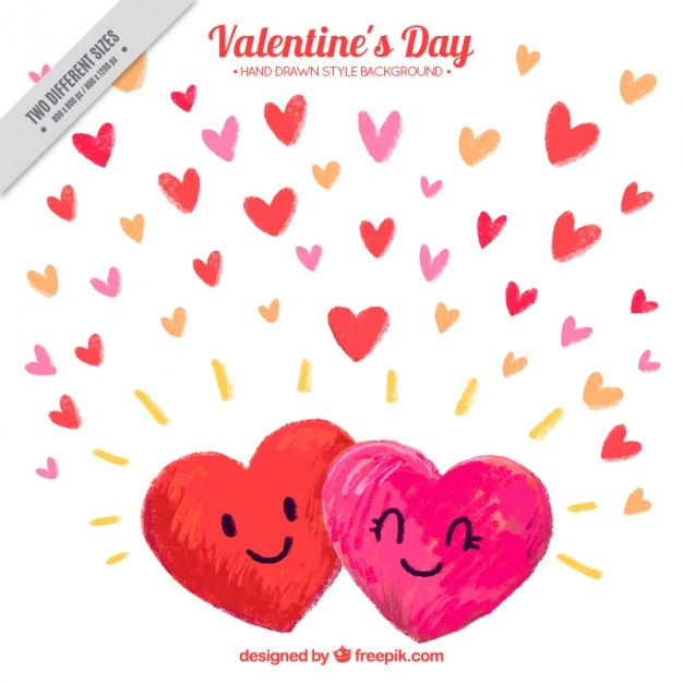 Hand-drawn background of smiling hearts for\ valentine\'s day