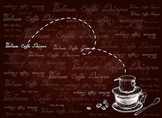 Ручной обращается фон вьетнамская капельница для кофе Premium векторы