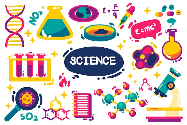Hand drawn background of science with elements Free Vector