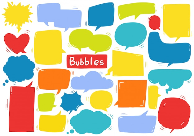 Hand drawn background set of cute speech bubble in doodle style Premium Vector