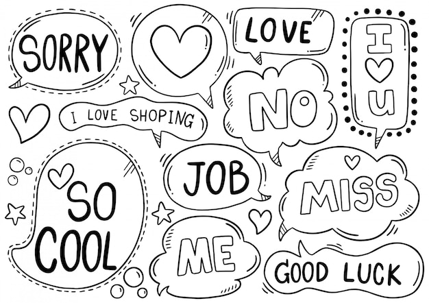 Hand drawn background set of cute speech bubble eith text in doodle style Premium Vector