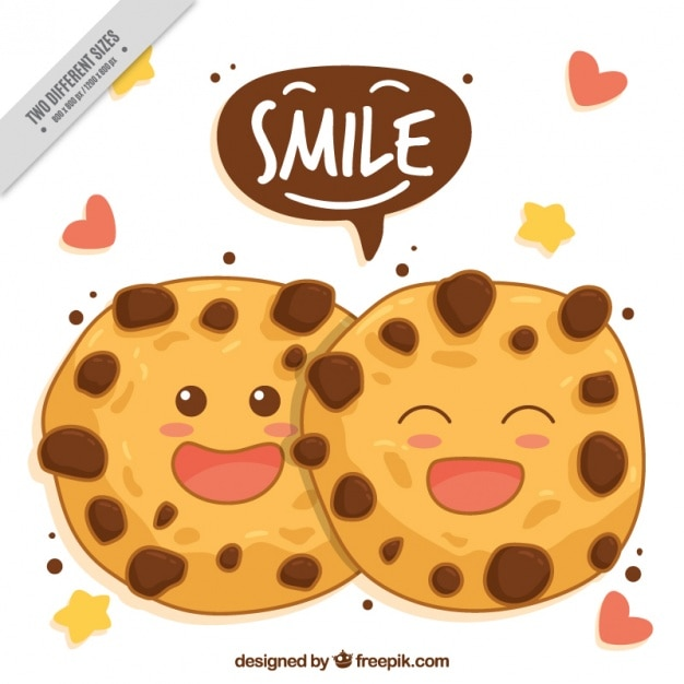 Hand-drawn background of smiling cookies Free Vector