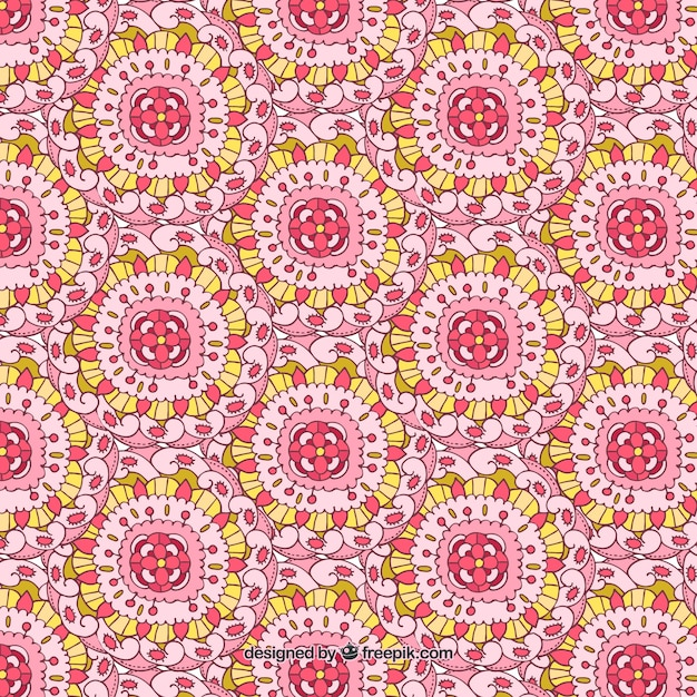 Hand-drawn background with abstract flowers and\ yellow details