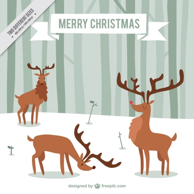 Hand-drawn background with deers Free Vector