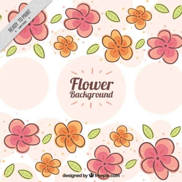 Hand-drawn background with flowers and circles Free Vector