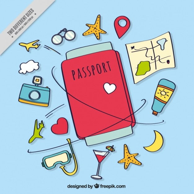 Hand-drawn background with passport and travel items Premium Vector