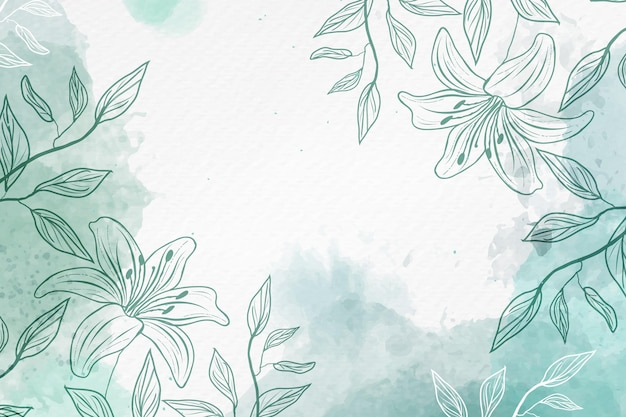 Hand drawn background with pastel flowers copy space Free Vector
