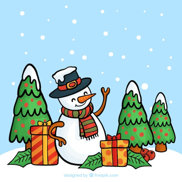 Hand drawn background with snowman and christmas tree